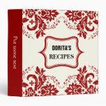 Elegant damask motif red, black, ivory recipe 3 ring binder