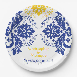 Elegant damask motif royal blue, yellow wedding paper plate