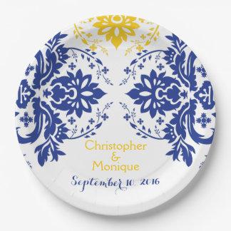 Elegant damask motif royal blue, yellow wedding paper plate