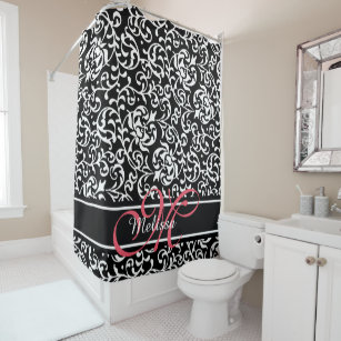 Elegant Damask Name And Monogram Black Pink White Shower Curtain