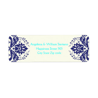 Elegant damask navy blue, aqua, ivory wedding label