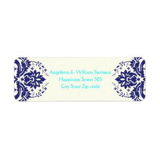 Elegant damask navy blue, aqua, ivory wedding return address labels