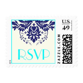Elegant damask navy blue, aqua wedding RSVP Postage