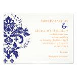 Elegant damask navy blue, coral, ivory wedding 5x7 paper invitation card