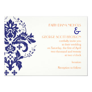 Elegant damask navy blue, coral, ivory wedding card