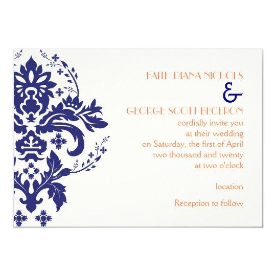 Navy Blue And Ivory Wedding Invitations: Elegant Damask Navy Blue, Coral, Ivory Wedding Invitation
