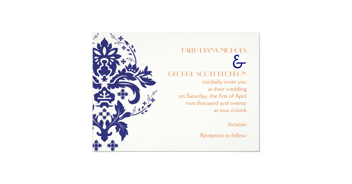 Blue And Coral Wedding Invitations: Elegant Damask Navy Blue, Coral, Ivory Wedding Invitation