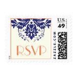 Elegant damask navy blue, coral wedding RSVP Stamp