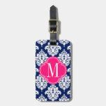 Elegant Damask Navy & Pink Custom Monogrammed Bag Tag