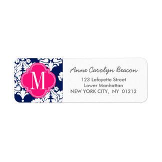 Elegant Damask Navy & Pink Custom Monogrammed Label