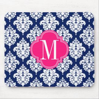 Elegant Damask Navy Pink Custom Monogrammed Mousepad