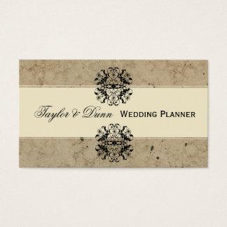 Elegant Damask Party Planner Business Card