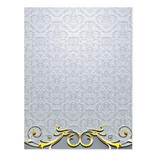 Elegant damask pattern and Golden swirl Postcard