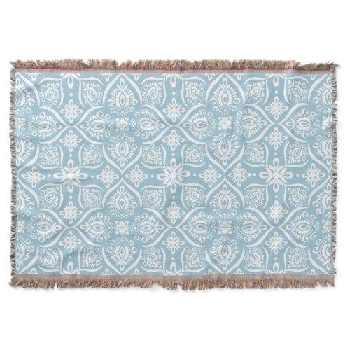 Elegant Damask Pattern | Baby Blue And White Throw Blanket