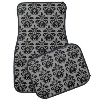 Elegant damask pattern black and gray floor mat