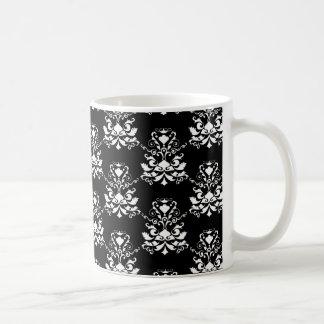 Elegant Damask Pattern Black and White Coffee Mug