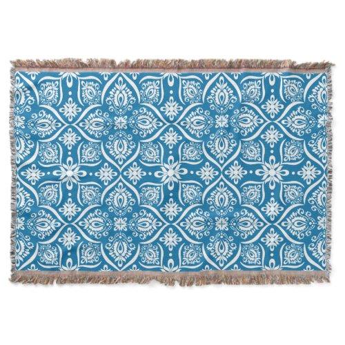 Elegant Damask Pattern | Blue And White Throw