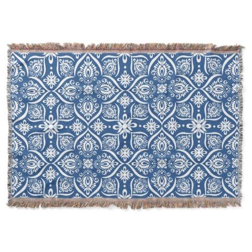 Elegant Damask Pattern | Blue And White Throw Blanket