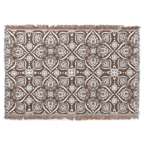 Elegant Damask Pattern | Brown And White Throw