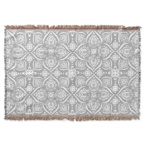 Elegant Damask Pattern | Gray And White Throw Blanket
