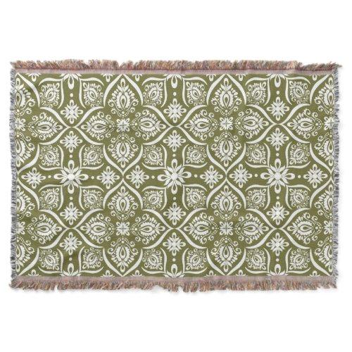 Elegant Damask Pattern | Green And White Throw
