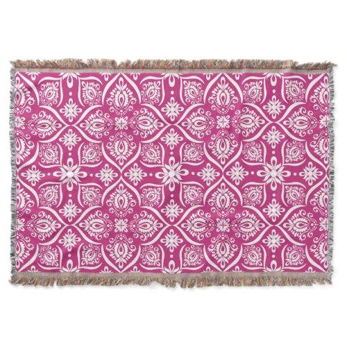Elegant Damask Pattern | Hot Pink And White Throw