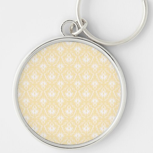 Elegant damask pattern. Light gold color. Silver-Colored Round Keychain