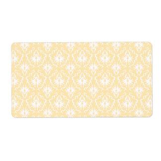 Elegant damask pattern. Light gold color. Shipping Label