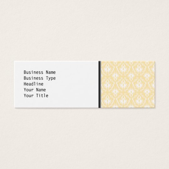 Elegant damask pattern. Light gold color. Mini Business Card
