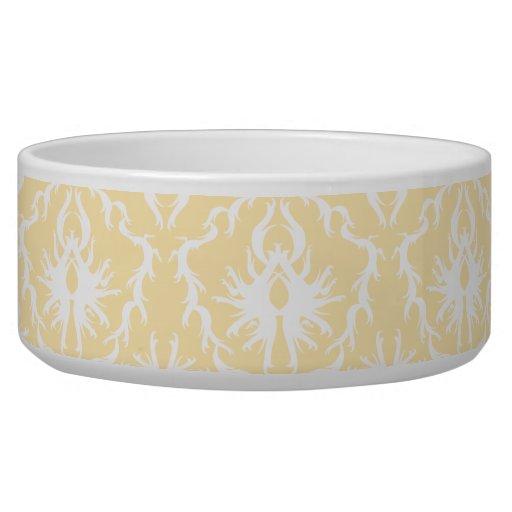 Elegant damask pattern. Light gold color. Dog Bowls