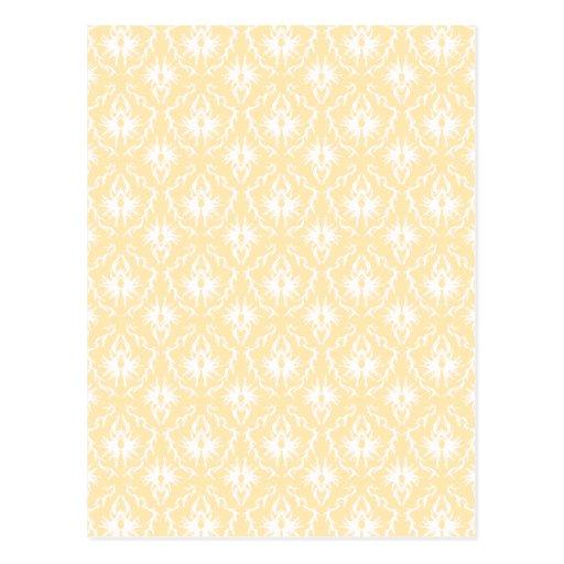 Elegant damask pattern. Light gold color. Postcard