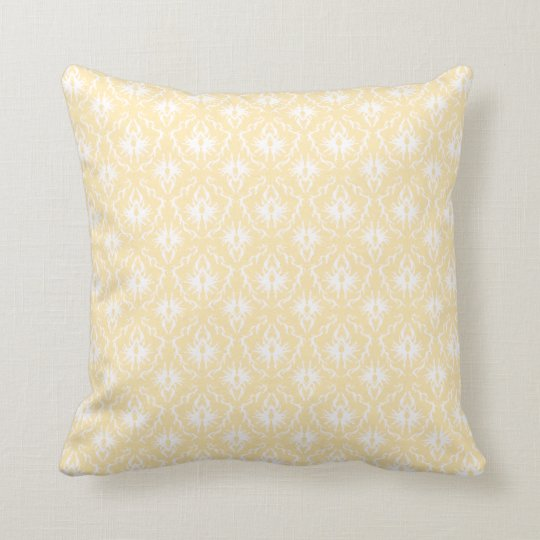 Elegant damask pattern. Light gold color. Throw Pillow