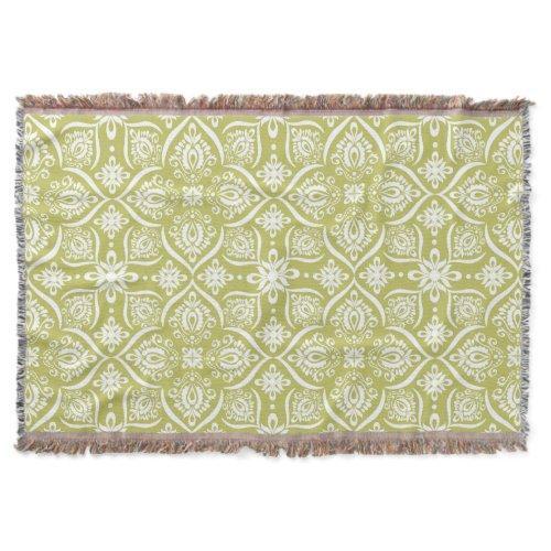 Elegant Damask Pattern | Lime Green And White Throw Blanket
