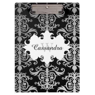 Elegant damask pattern monogram clipboard
