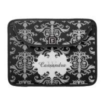 Elegant damask pattern monogram MacBook pro sleeve