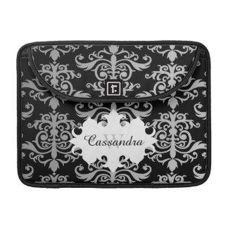 Elegant damask pattern monogram sleeves for MacBook pro