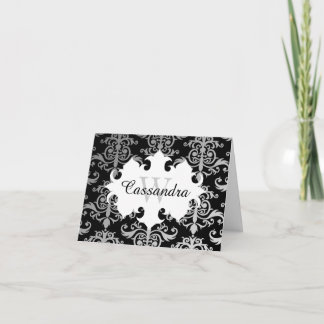 Elegant damask pattern monogram note card