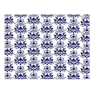 Elegant Damask Pattern Navy Blue and White Postcard