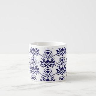 Elegant Damask Pattern Navy Blue and White 6 Oz Ceramic Espresso Cup