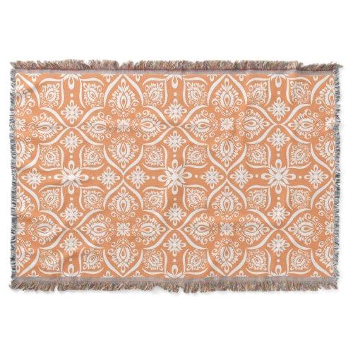 Elegant Damask Pattern | Orange And White Throw