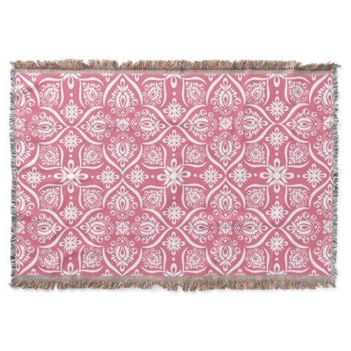 Elegant Damask Pattern | Pink And White Throw Blanket