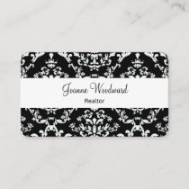 Elegant Damask Pattern Realtor Theme Business Card