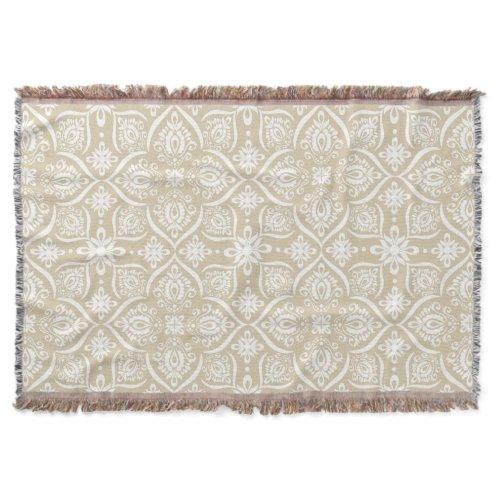 Elegant Damask Pattern | Tan And White Throw