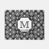 Elegant Damask Pattern Wedding Monogram Black Doormat