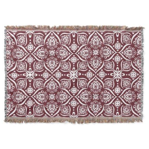 Elegant Damask Pattern | Wine Red And White Throw Blanket