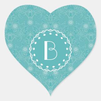 Elegant Damask Pattern with Monogram Heart Sticker