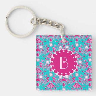 Elegant Damask Pattern with Monogram Double-Sided Square Acrylic Keychain
