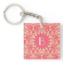 Elegant Damask Pattern with Monogram Keychain