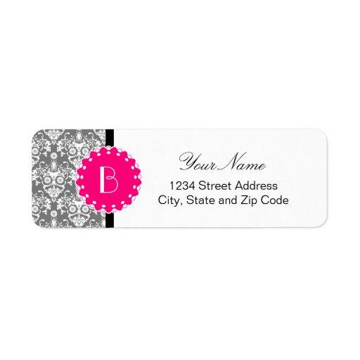 Elegant Damask Pattern with Monogram Custom Return Address Labels