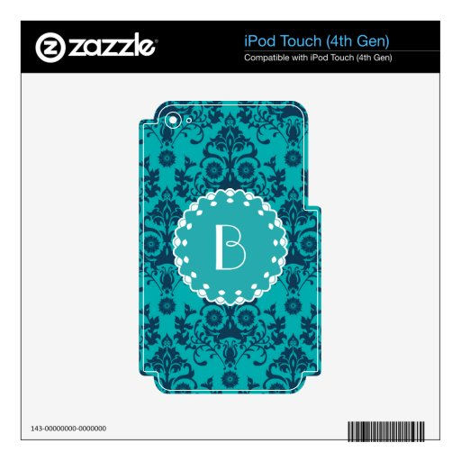 Elegant Damask Pattern with Monogram iPod Touch 4G Skins